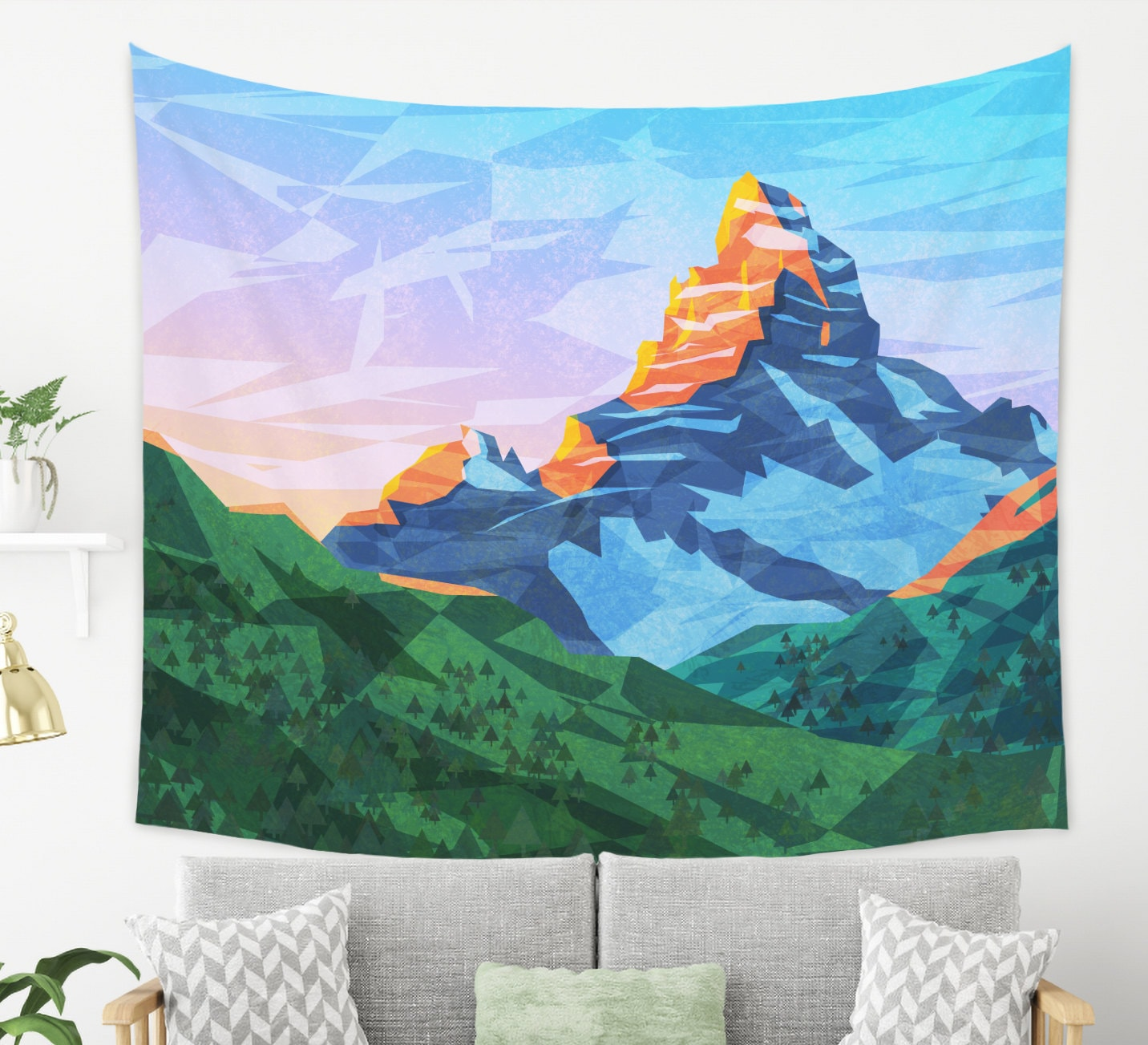 Cartoon Mountain Tapestry