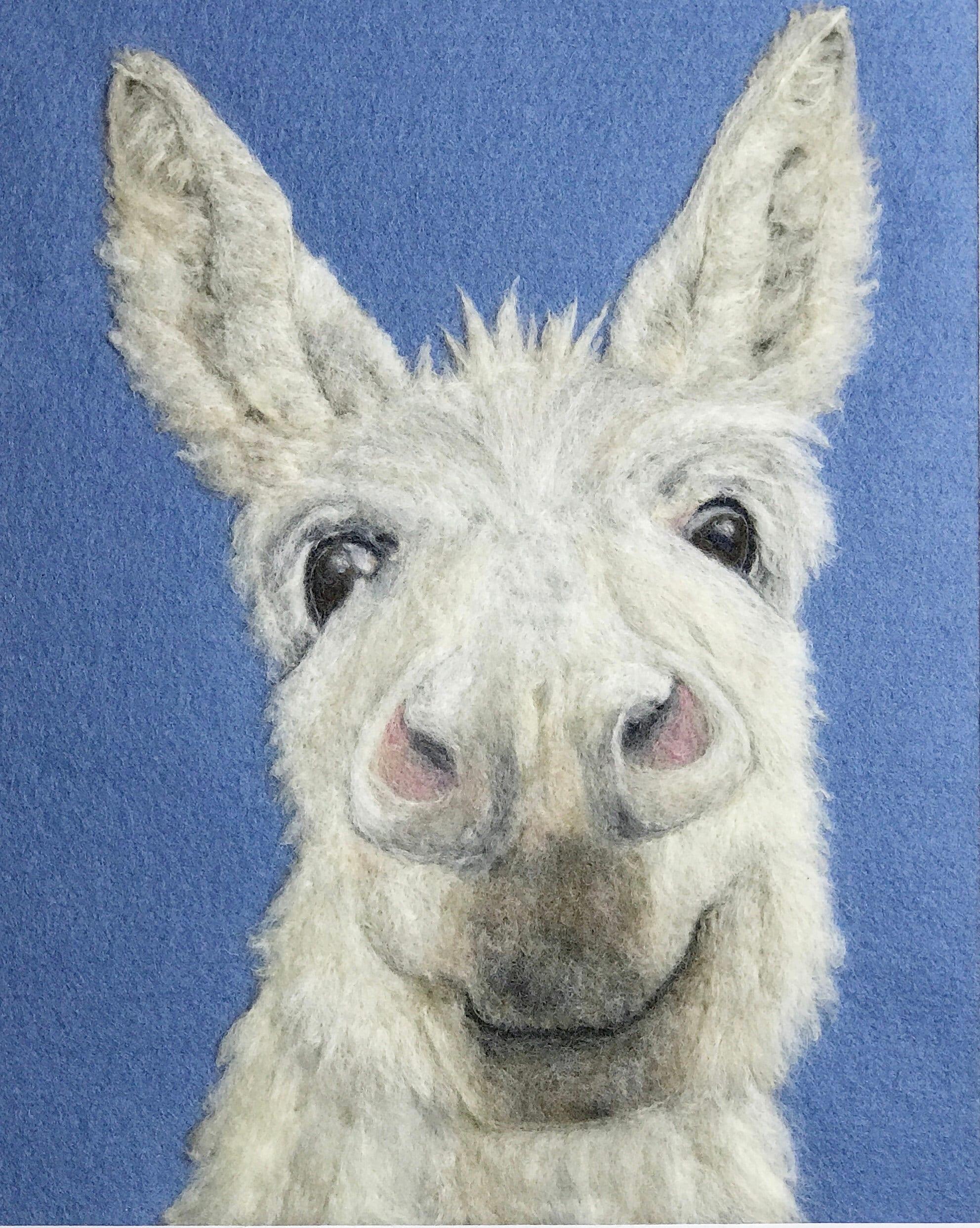 needle felt wool picture of donkey