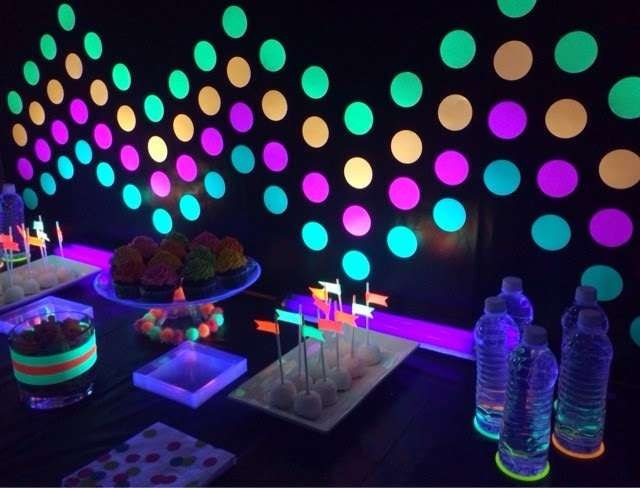 neon dots on wall for glow party