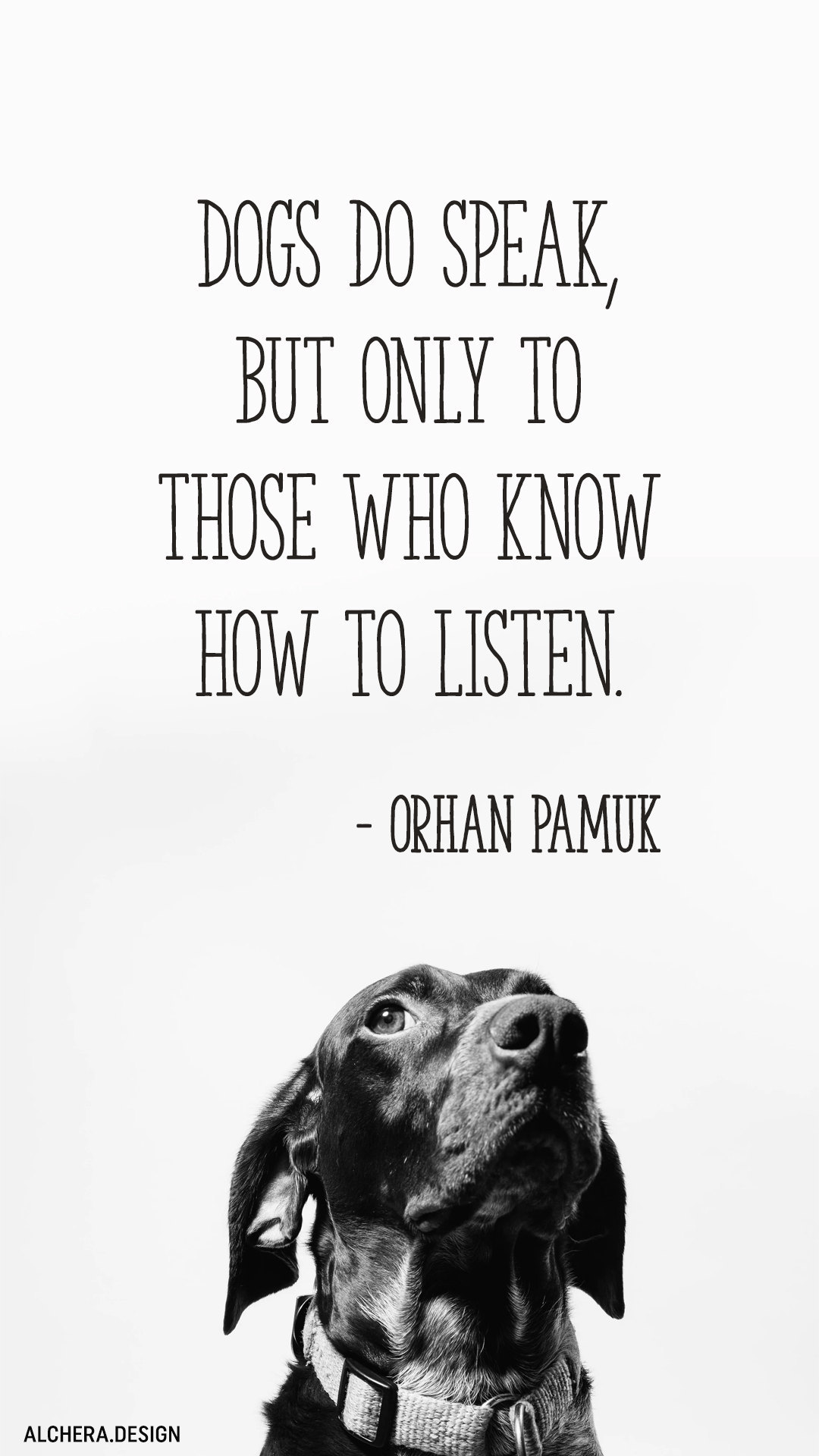 Dogs do speak, but only to those who know how to listen.  Quote by Orhan Pamuk