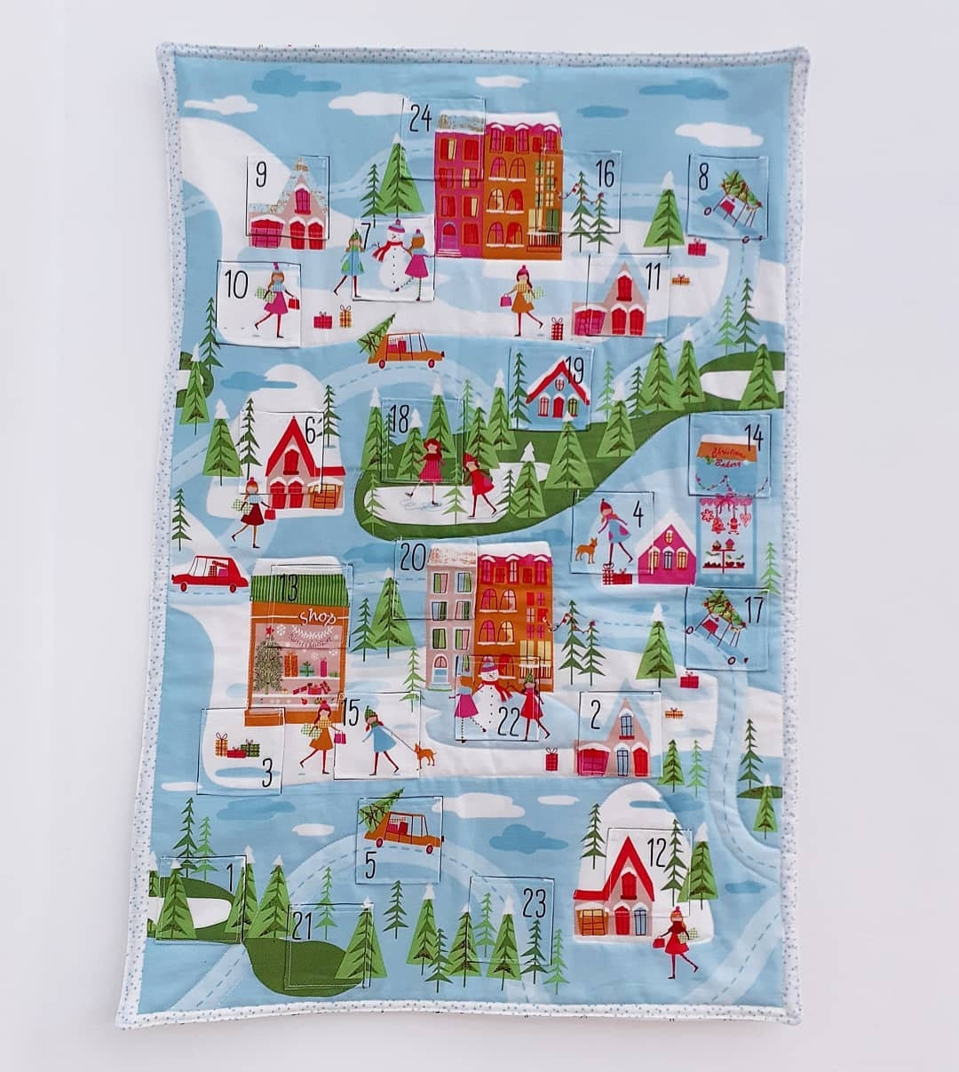 Christmas town scene advent panel Craft Cotton Co