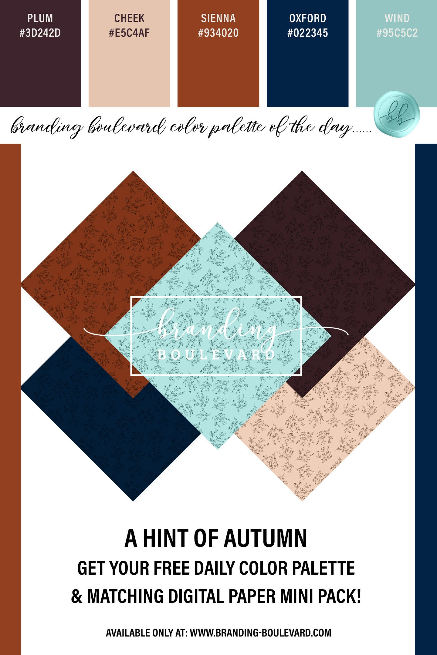 Free A Hint of Autumn Color Palette And Matching Digital Paper Pack - Free Fall Digital Papers - Botanical Backgrounds For Free