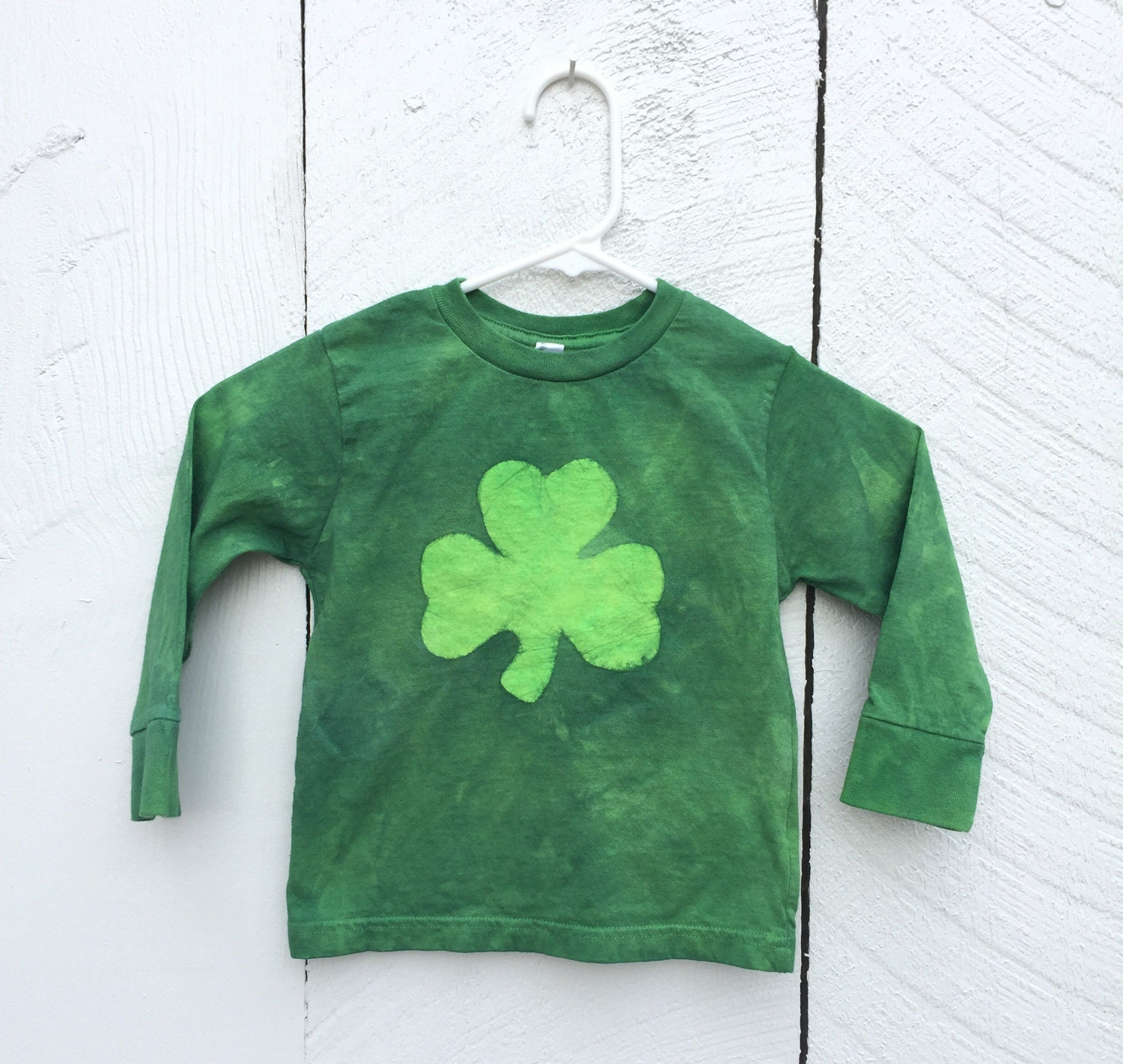 Shamrock St. Patricks Day shirt by Peace, Baby! Batiks