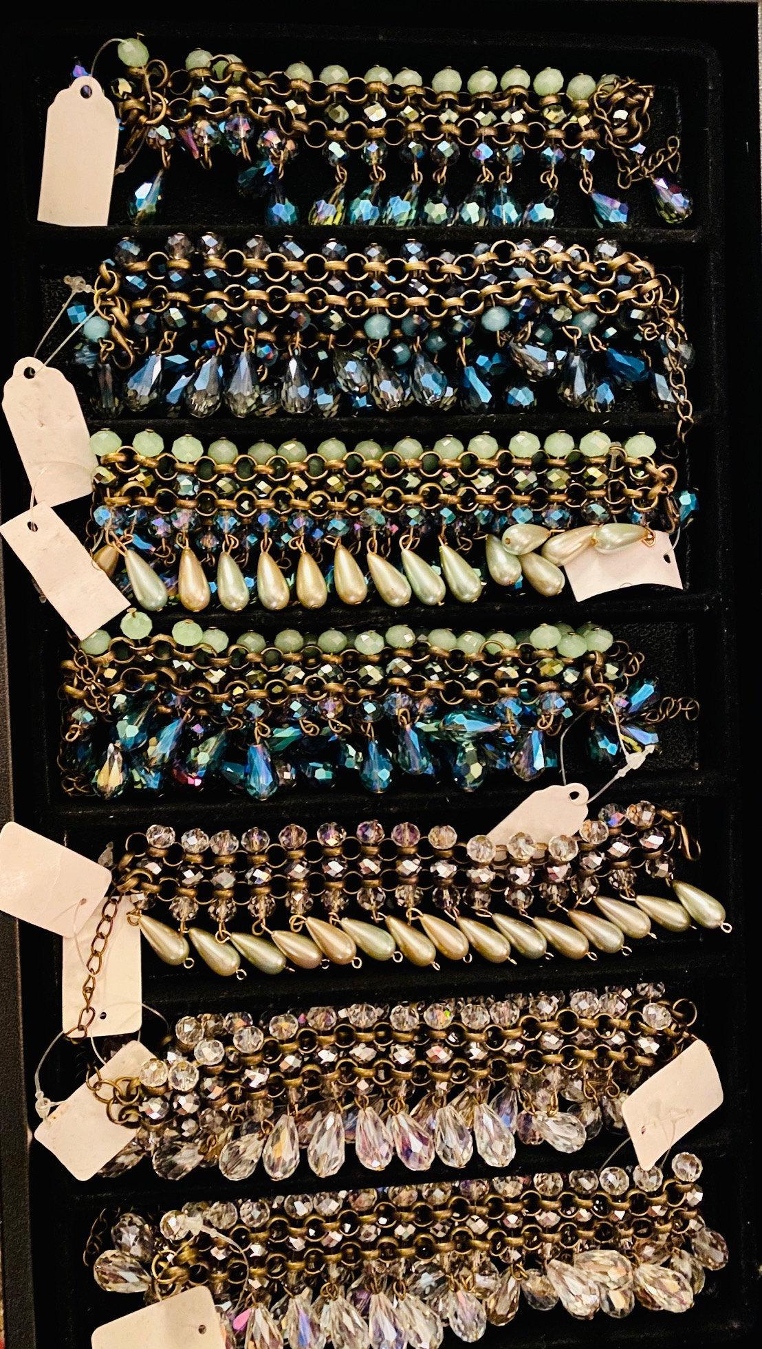 Mermaid Dangle Bracelets with Vintage Pearls