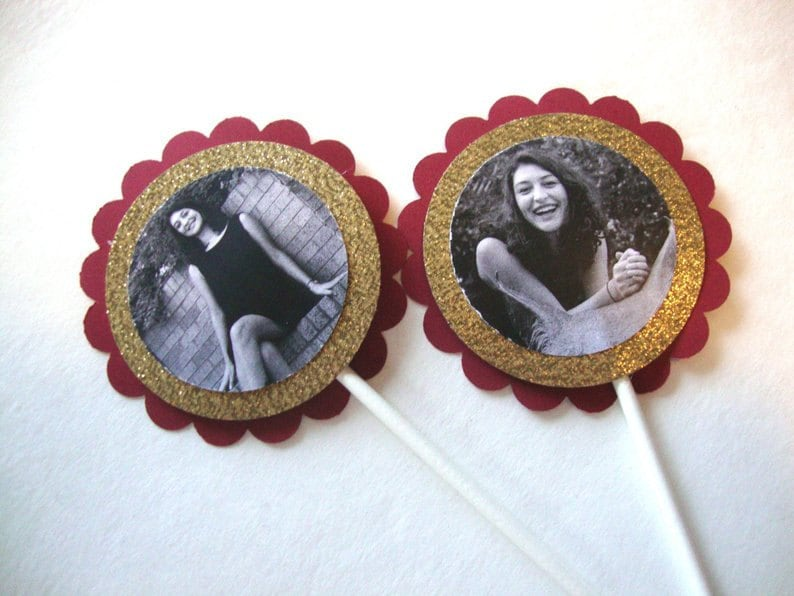 black and white pictures of girls on gold glitter and burgundy scallop circle as cupake toppers