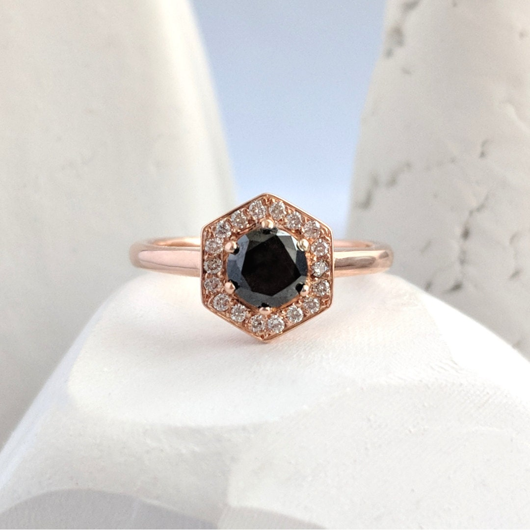 Rose Gold and Black Diamond Engagement ring.