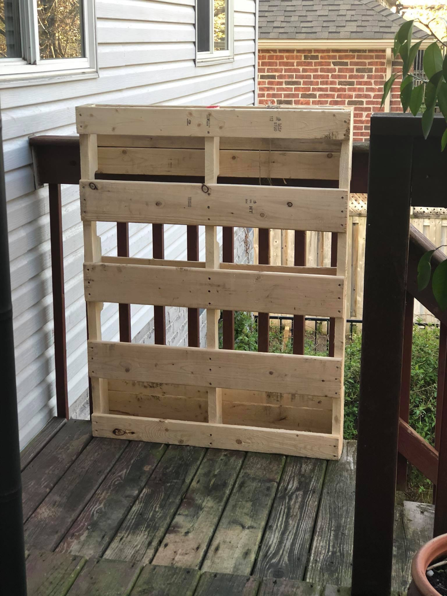 This was the pallet I chose. They arent all created equal so yours may not look the same. Look for slats that are in good shape on the front and the back. And since all pallets are treated for pest control, make sure the stamp shows HT (heat treated) and not MB (Methyl Bromide). MB is a serious toxin that you dont want anywhere near the food youre going to grow and eat!