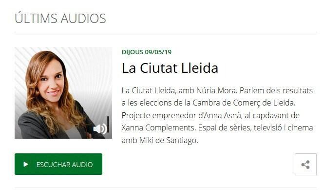 Entrevista a XANNA COMPLEMENTS en Onda Cero Lleida, con Núria Mora.