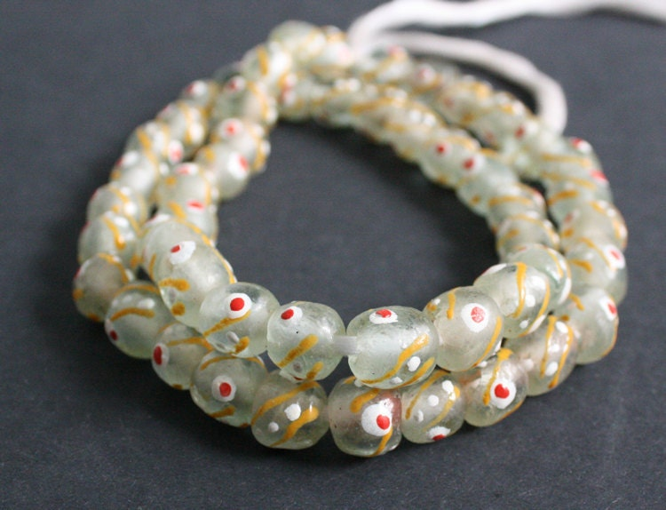 painted translucent glass beads