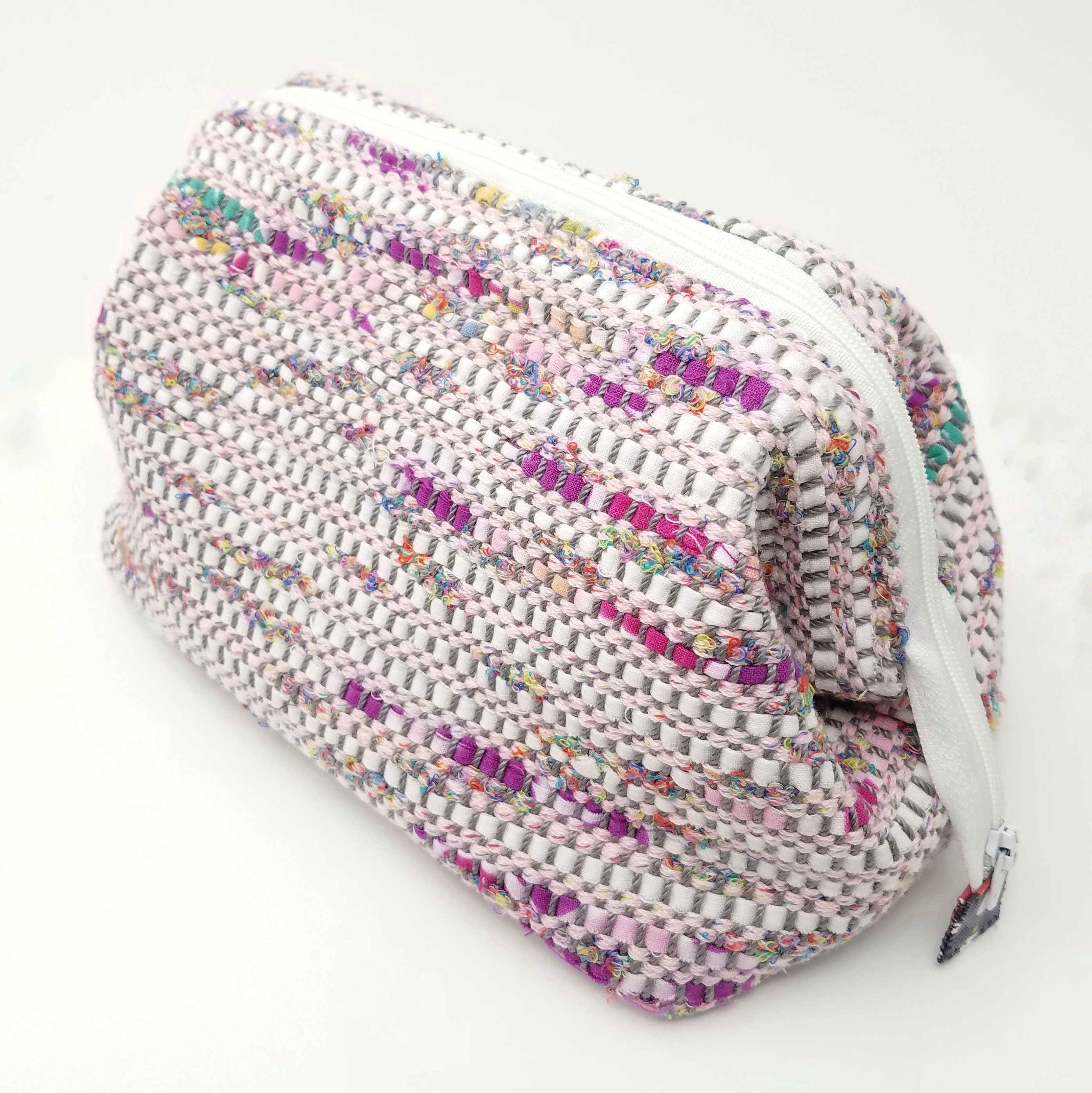 cosmetic bag created with sakiori fabric