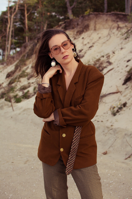 vintage look, autumn vintage style, vintage blazer, brown blazer