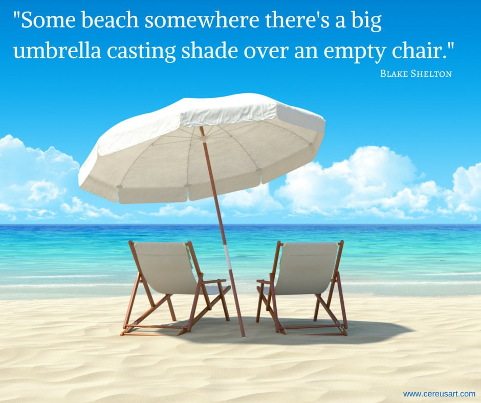 Some beach somewhere theres a big umbrella casting shade over an empty chair - Blake Shelton