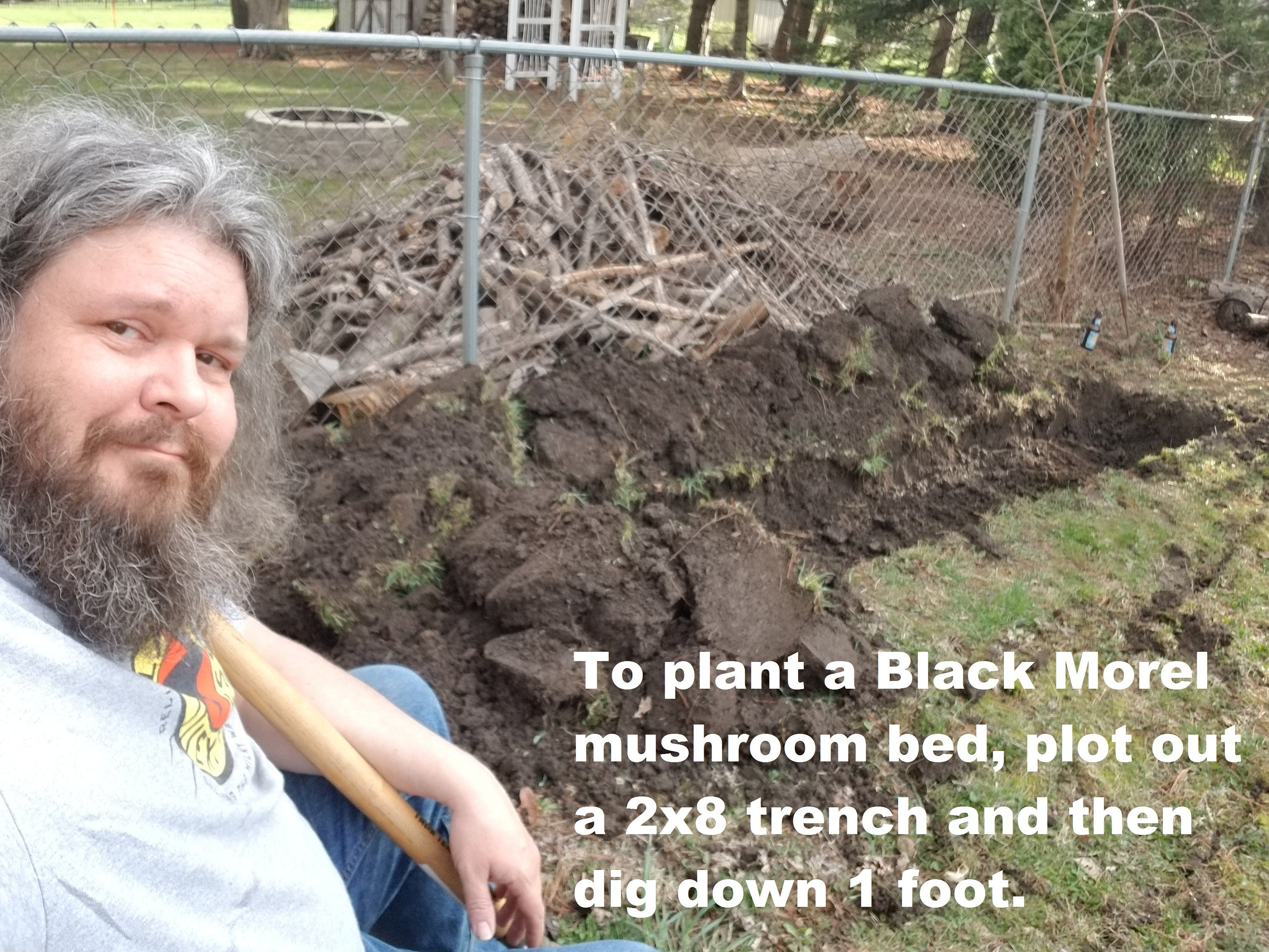 Planting morel spawn, step 1: The author takes a breather.