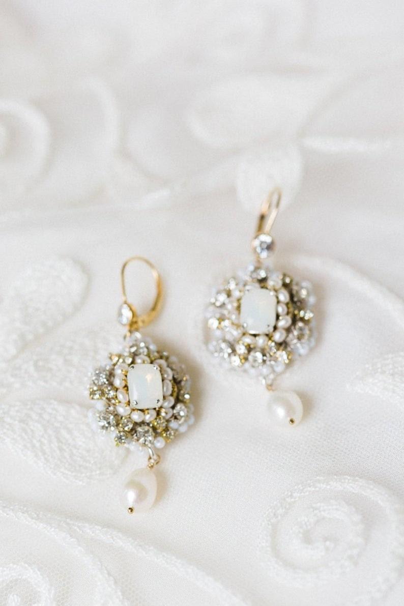 White Opal Metallic Lace Bridal Earrings