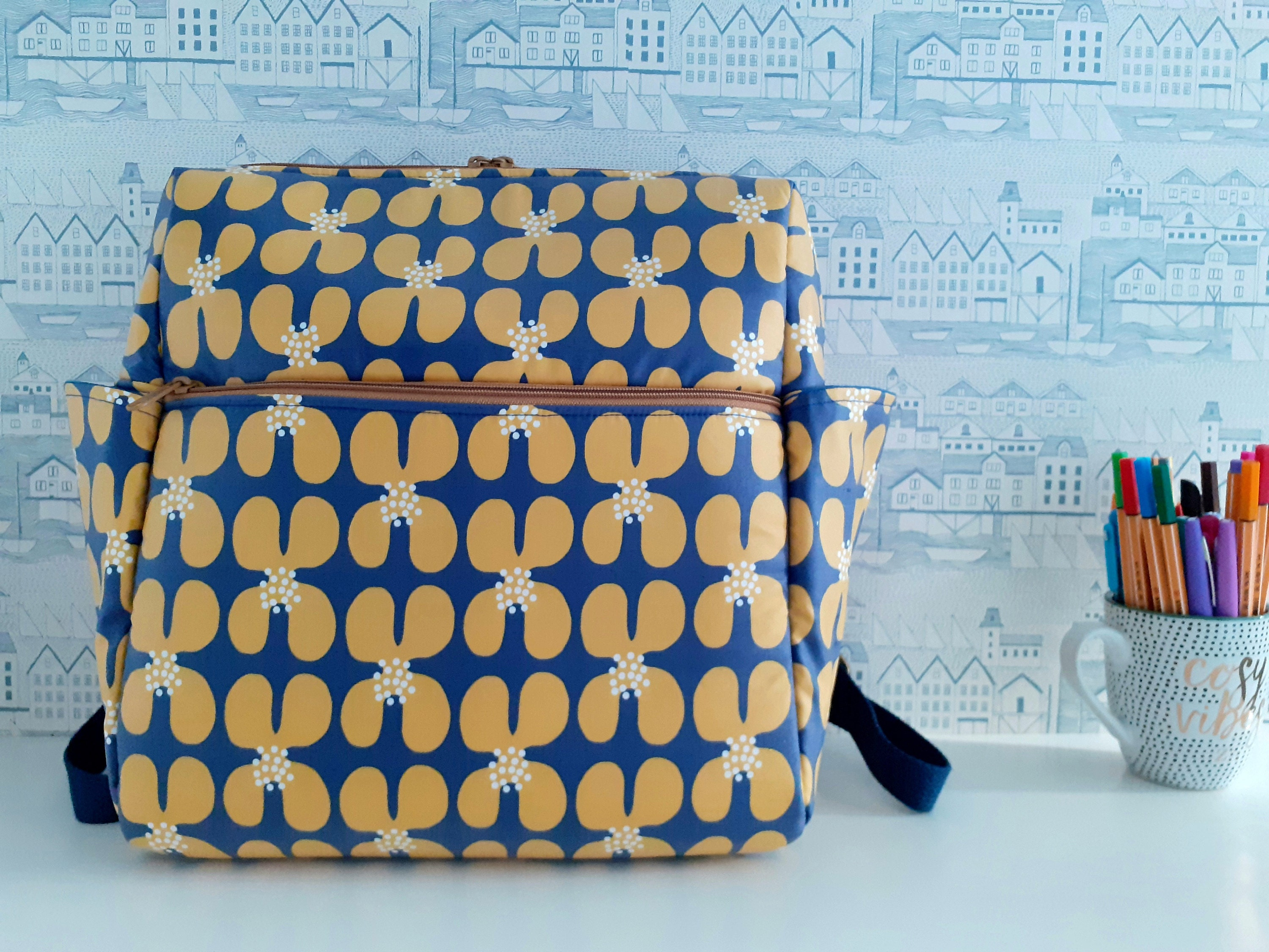 Fun Bobby Backpack Sincerely Jen Patterns Cloud 9 matte laminates Golden Poppies