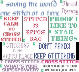 Cross stitch sayings for bags