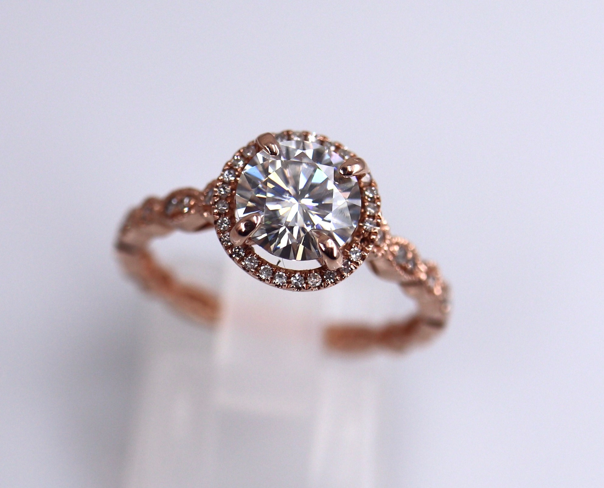 Halo Art Deco 7mm round def ring rose gold. Stunning! And sold!