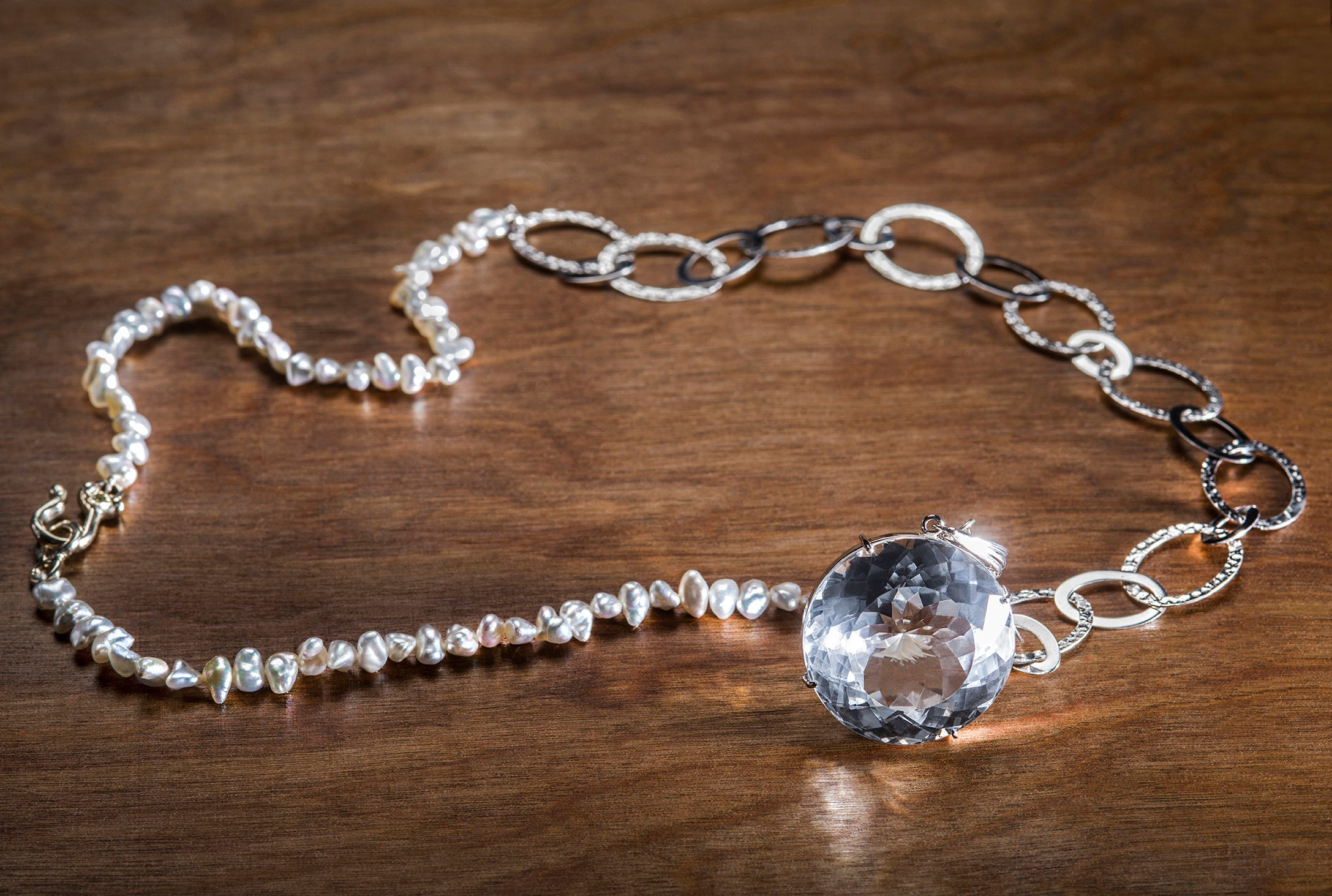 Keshi Pearl and 14k White Gold Necklace, Necklace with silver natural Topaz enhancer, Pearl and topaz necklace