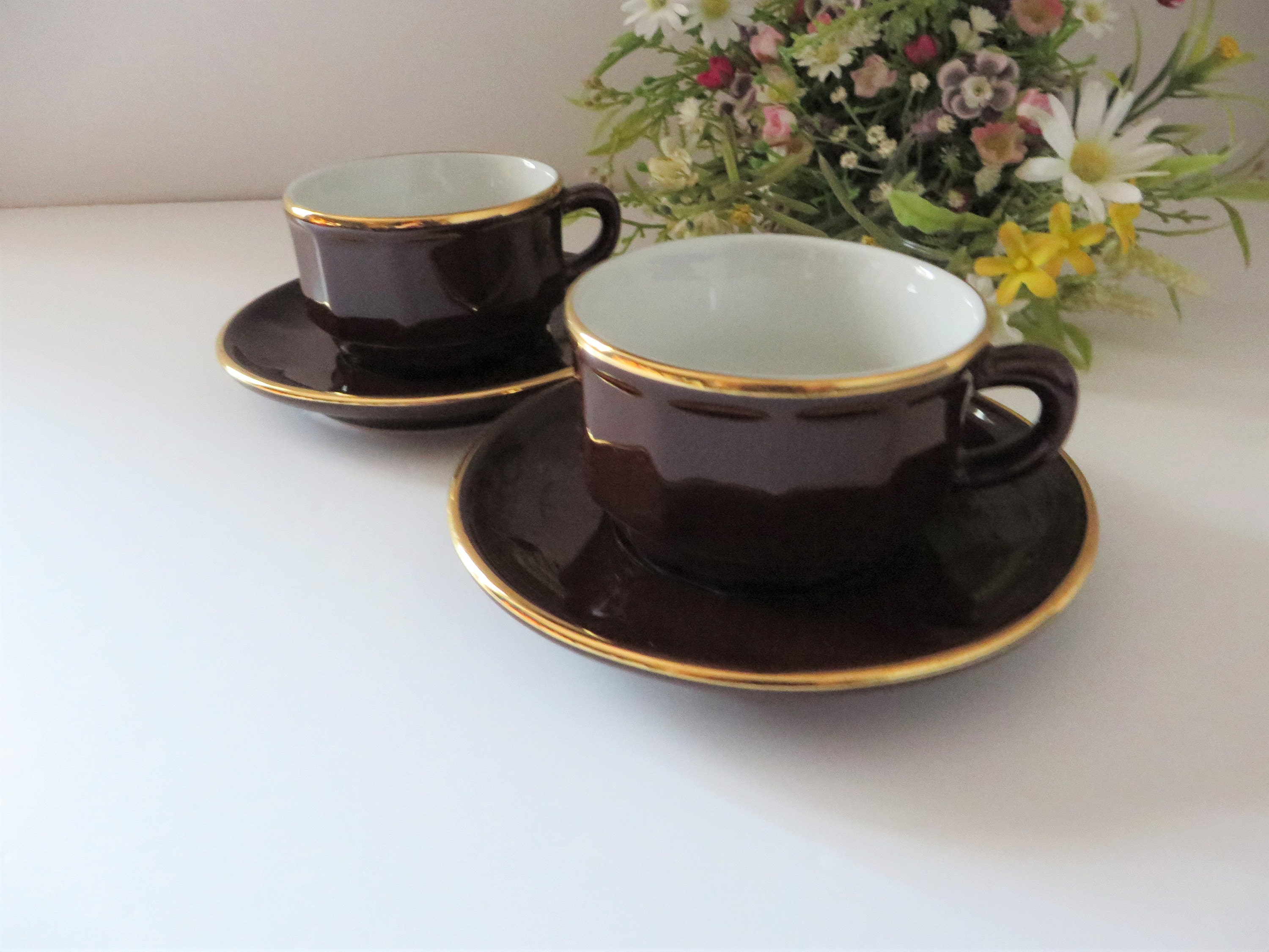 Apilco brown Cappuccino cup and saucer for Nestle