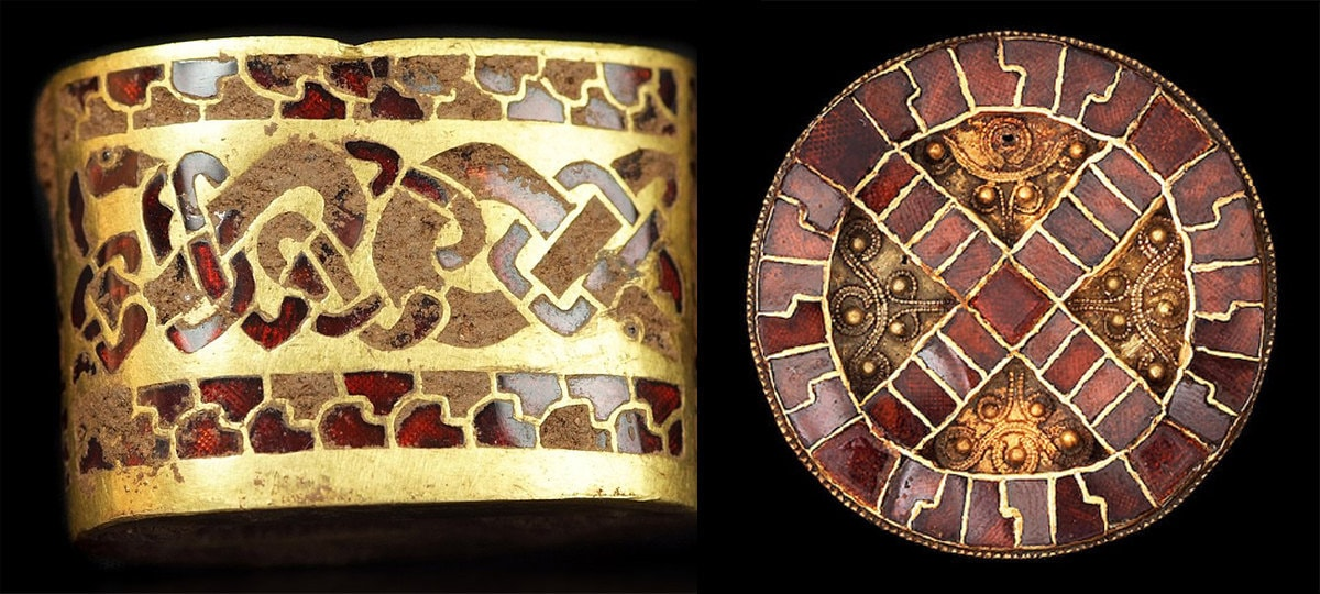 Historic Cloisonne inlaid with Garnet brooch and bracelet examples
