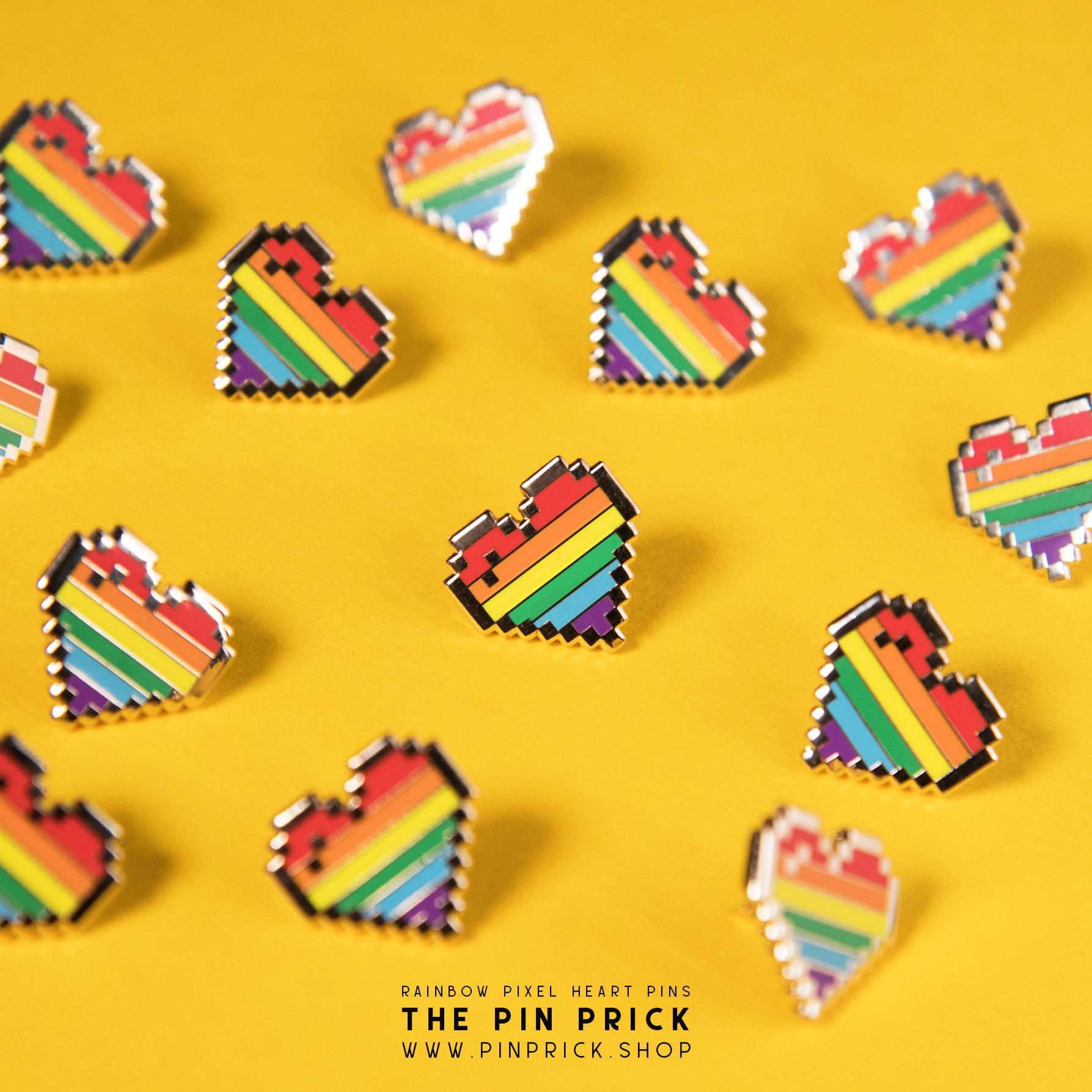 Rainbow Pixel Heart Enamel Pins Operation Pridefall