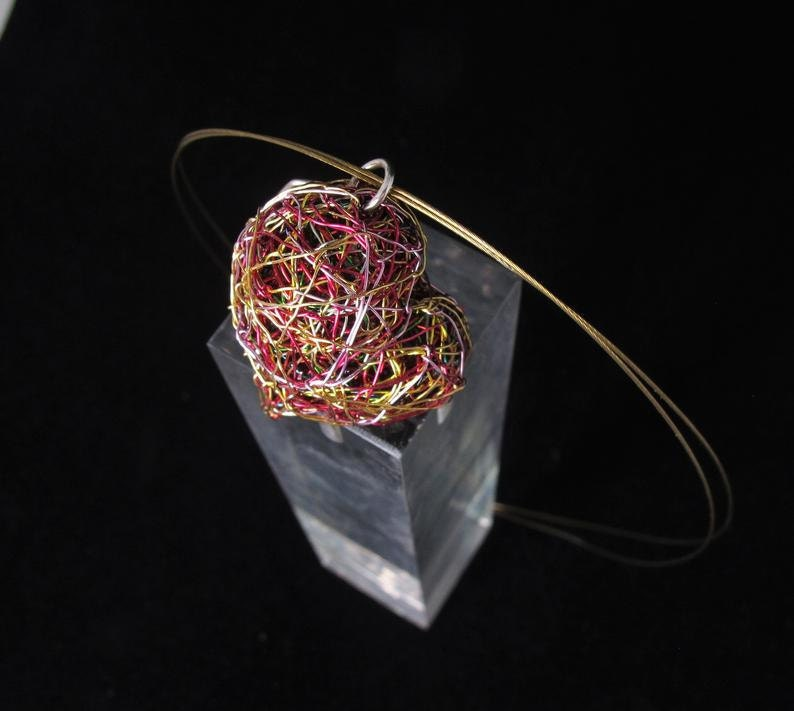 Pink gold heart necklace, wire sculpture art jewelry