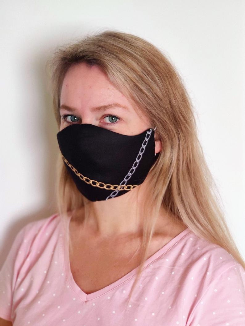 Face Mask embroidery design - Gold and Silver Chains