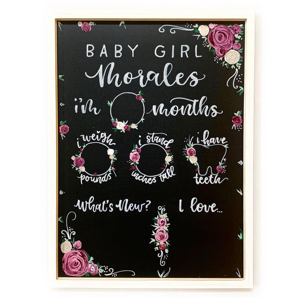 Mauve floral themed milestone board