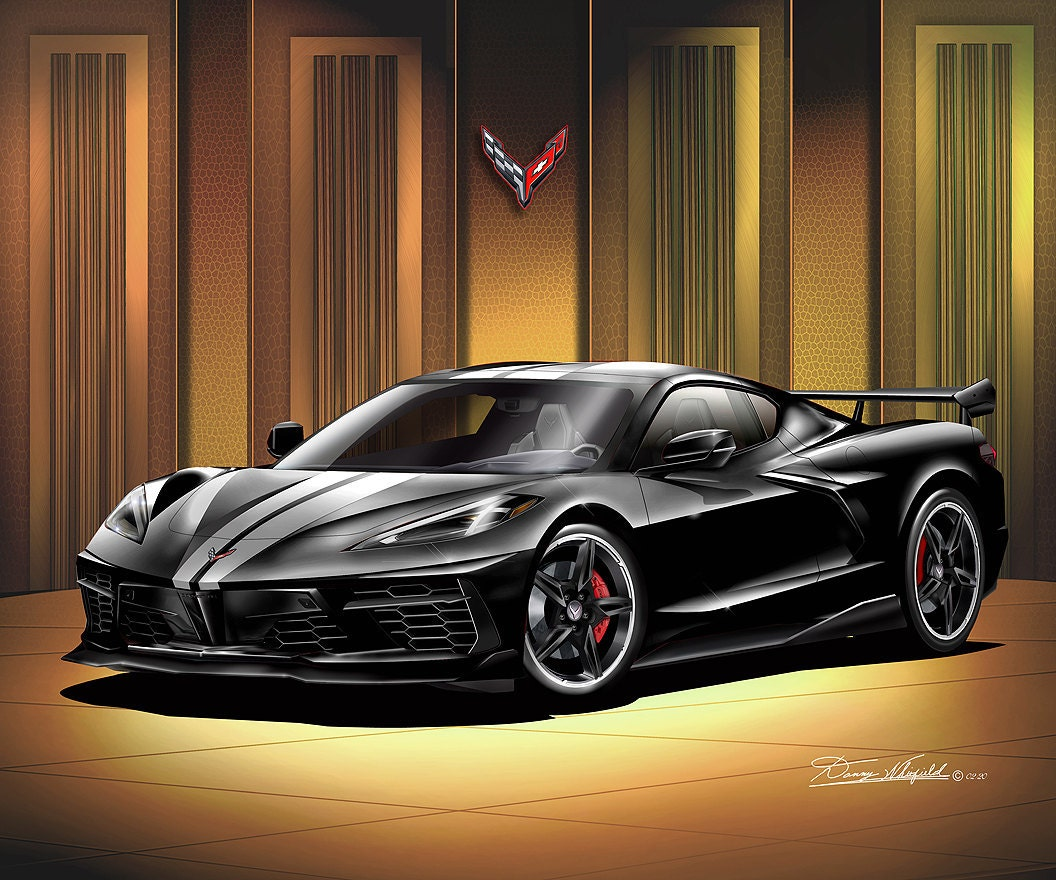 C8 Corvette art by Danny Whitfield - Black