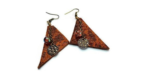 Brown recycled leather earrings