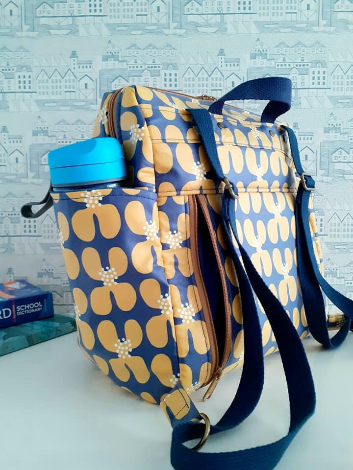 Fun Bobby Backpack Sincerely Jen Patterns Golden Poppy matte laminate Cloud 9
