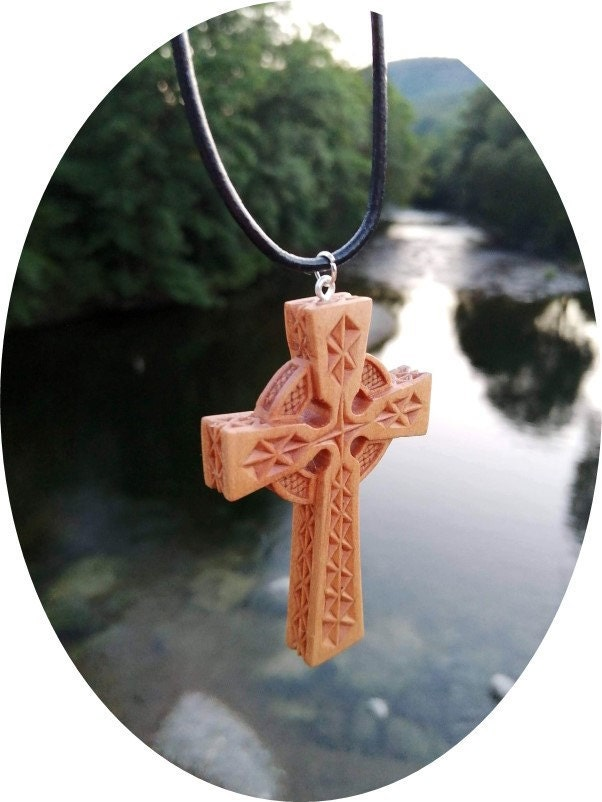 Celtic Cross Pendant Necklace - Sycamore Wood