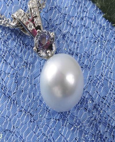 South Sea Pearl, Pearl, Sapphire, Diamond Pendant,