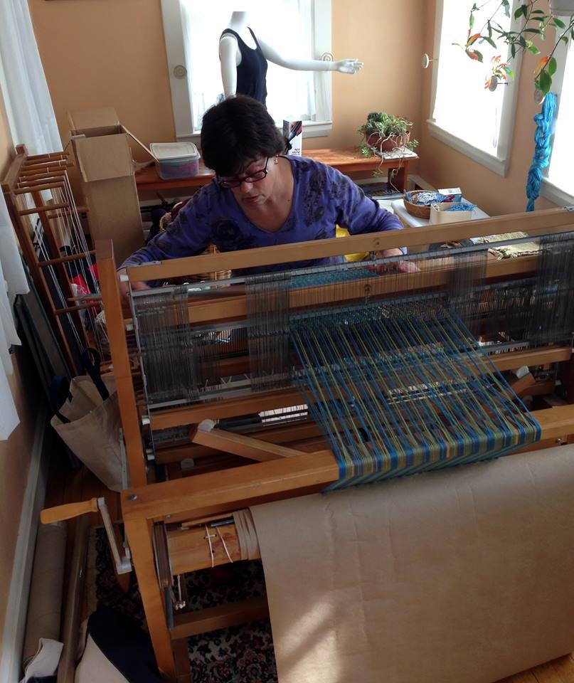 Kathy at her 4-shaft loom