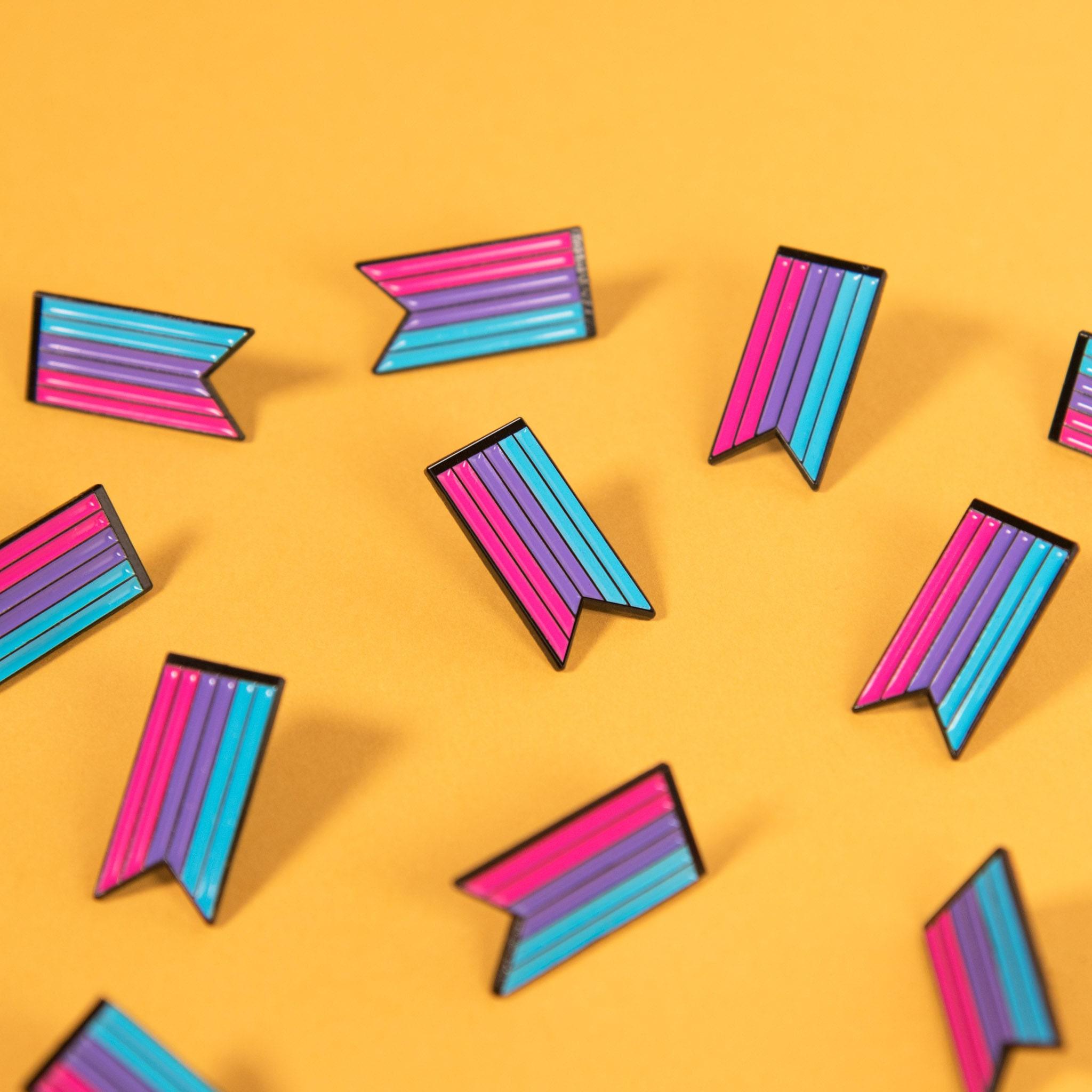 Androgynous Pride Flag Queer Enamel Pin Badge