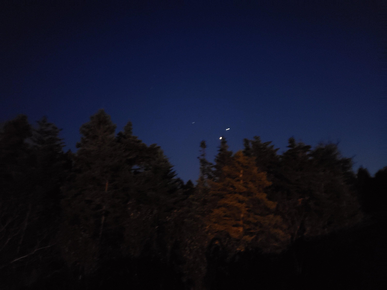 Night sky above the treeline near my home.
