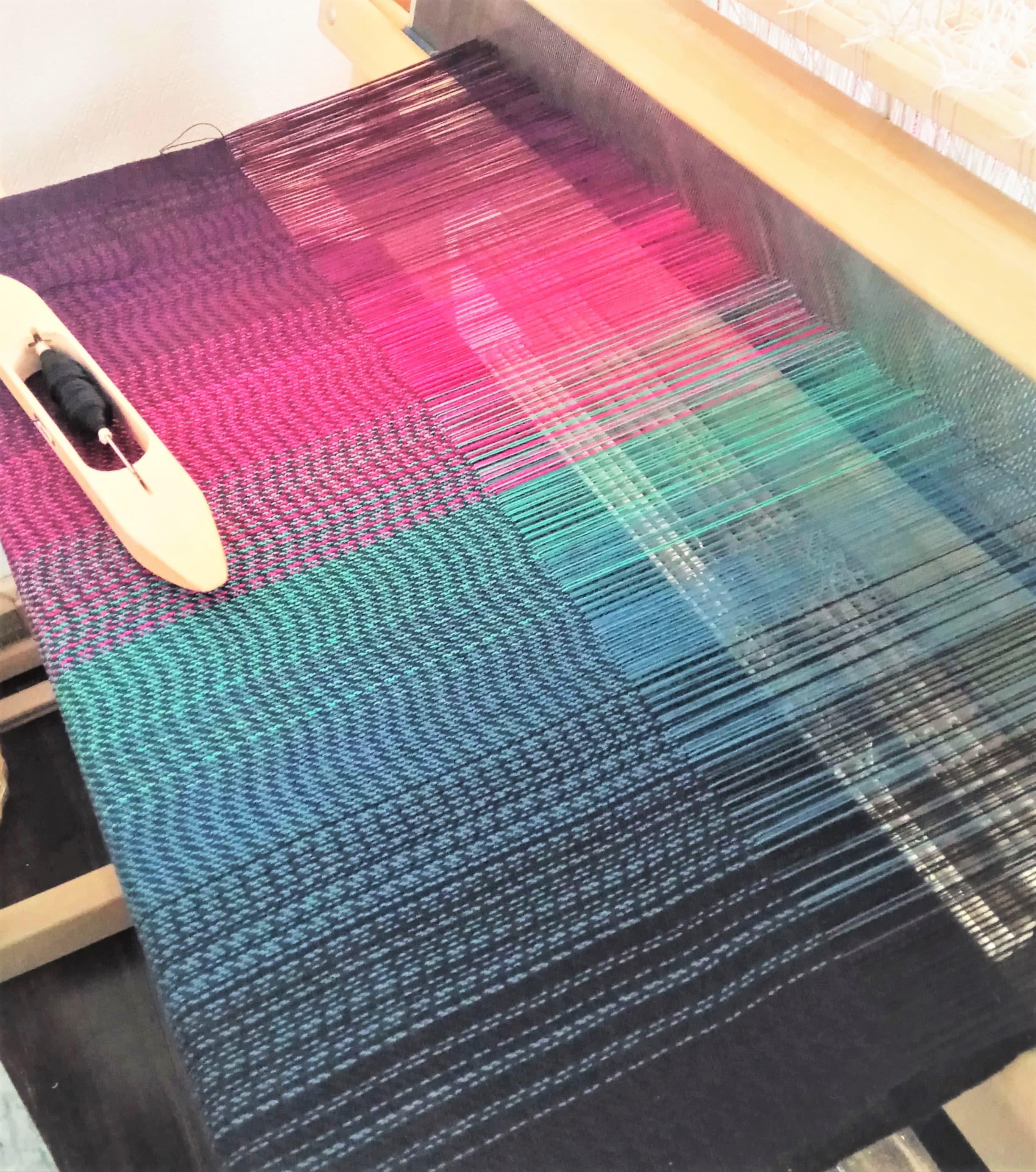 Polar Lights- shawl on the loom