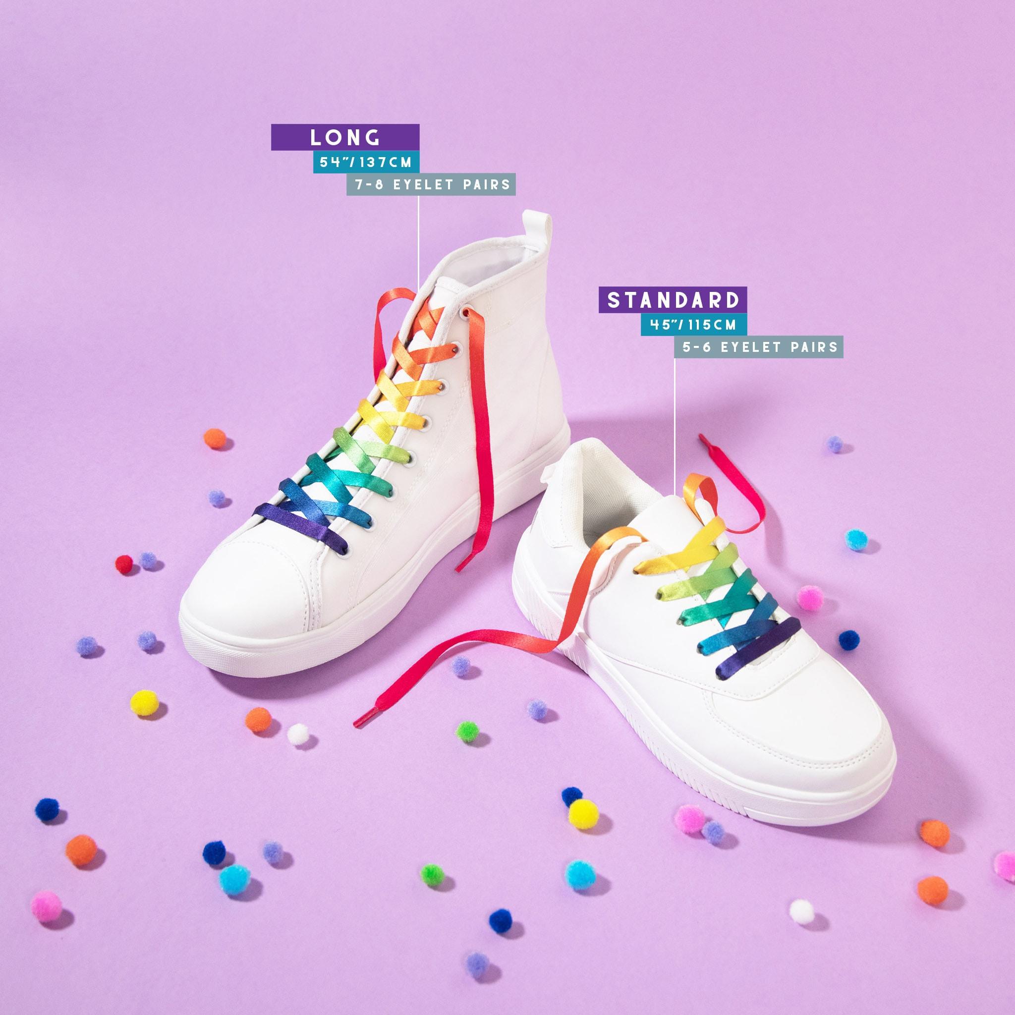 Rainbow Shoelaces High Tops Sneakers Trainers Gradient LGBT Gay Pride
