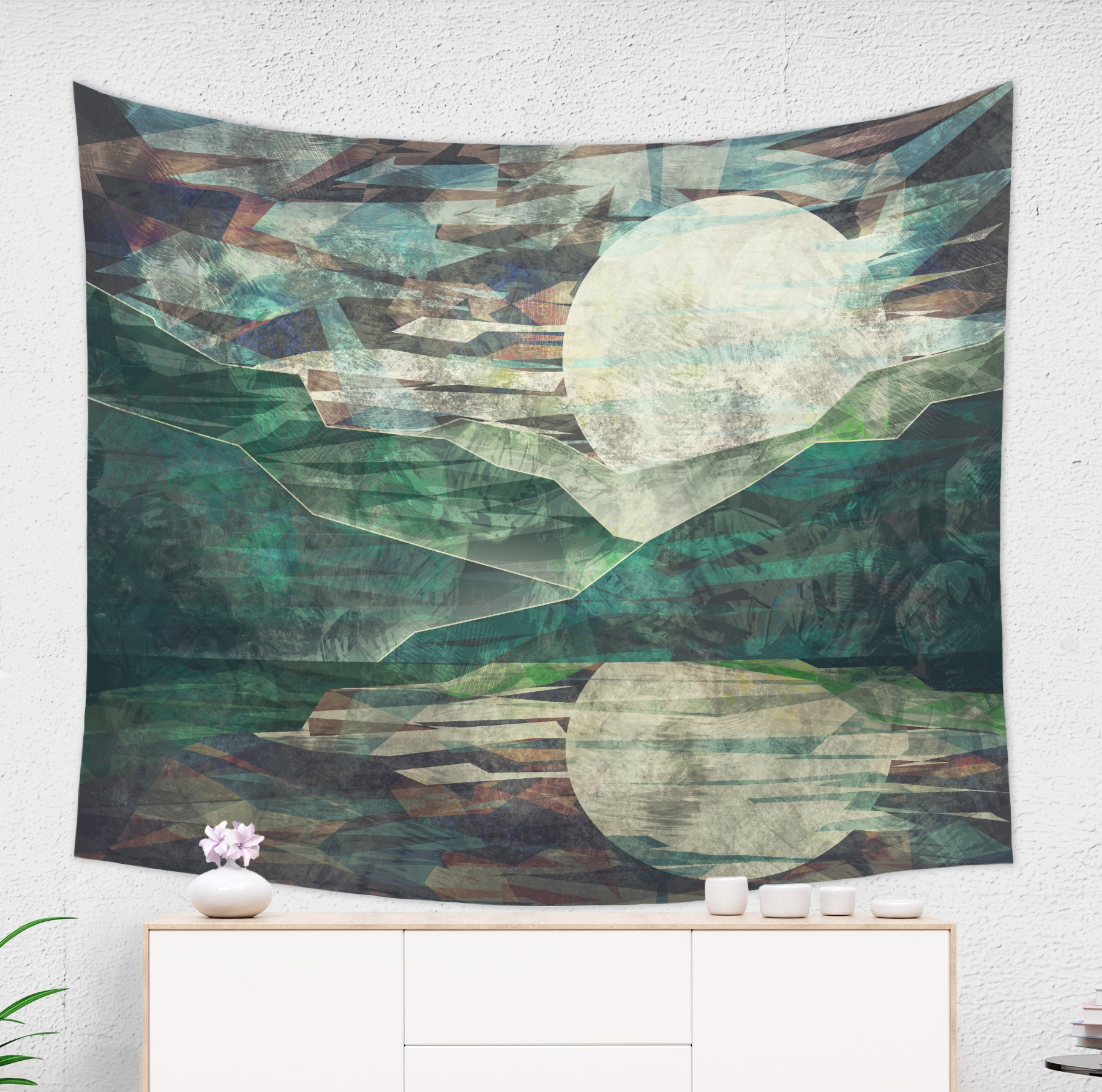Mountain Moon Tapestry in Night