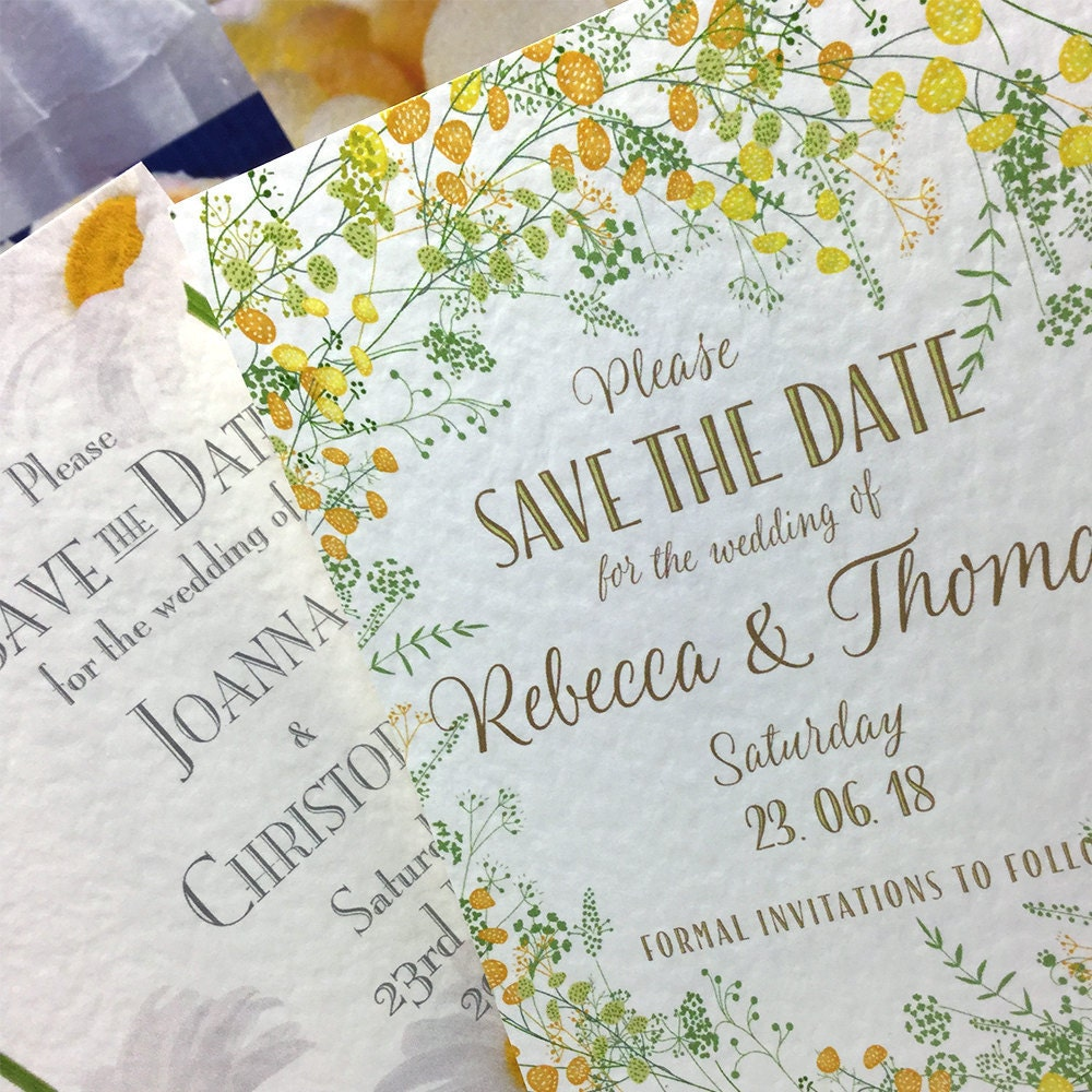 Yellow Floral Save the Date