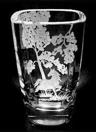 Bergdala Sweden Vase With Engraved Horse