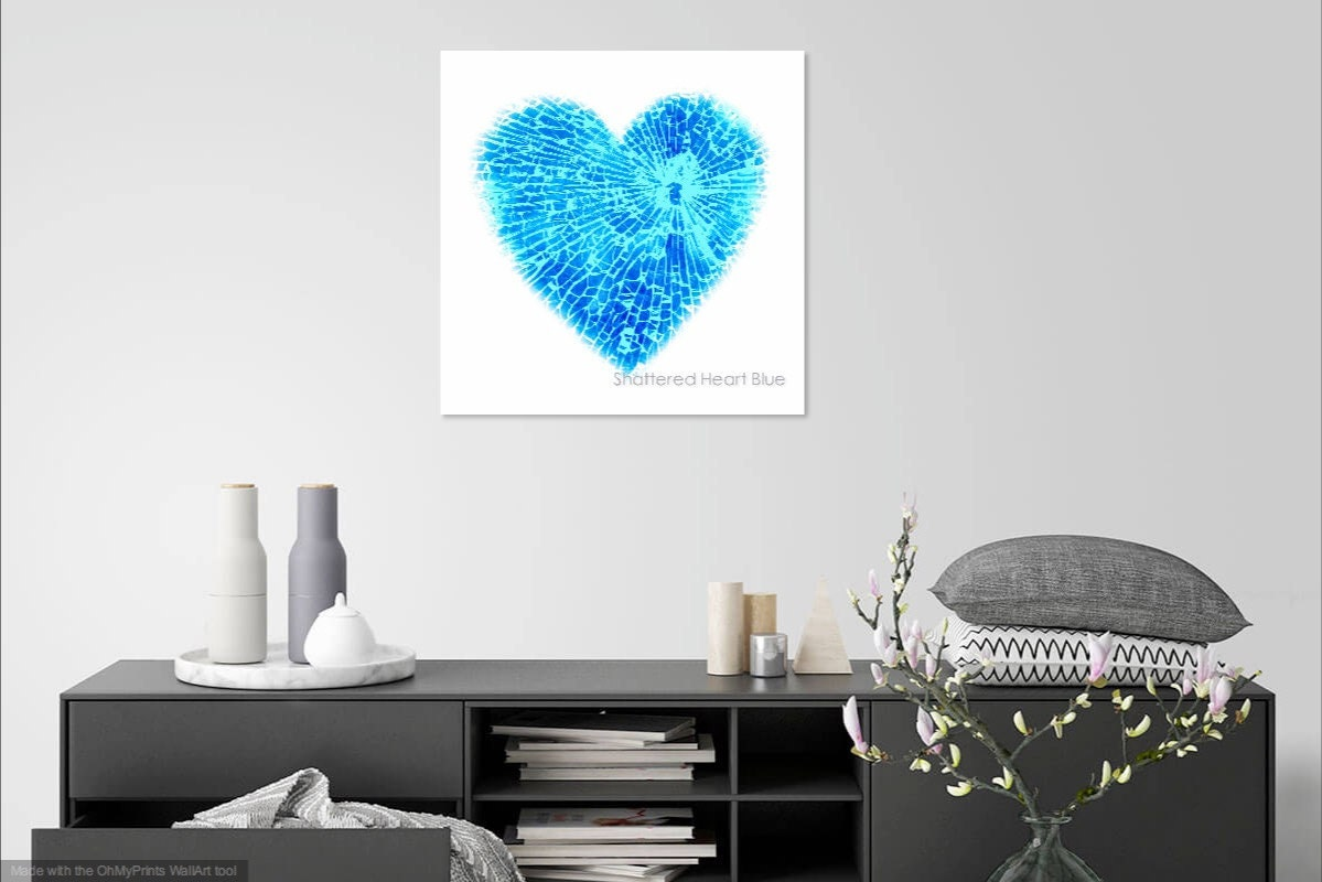 contemporary heart canvas wall art print- blue heart with shattered glass bullet hole effect- custom sizes
