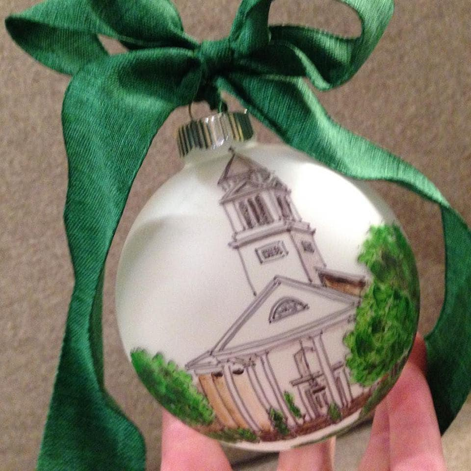 Custom Church Christmas ornaments, painted ornaments by Natalie Bradley