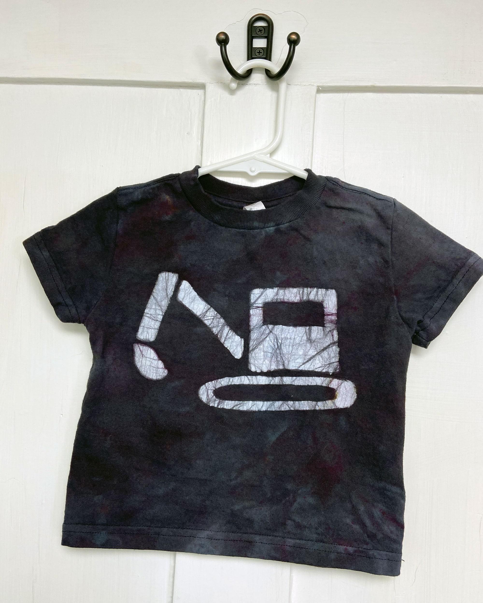 18 month black excavator shirt by Peace, Baby! Batiks