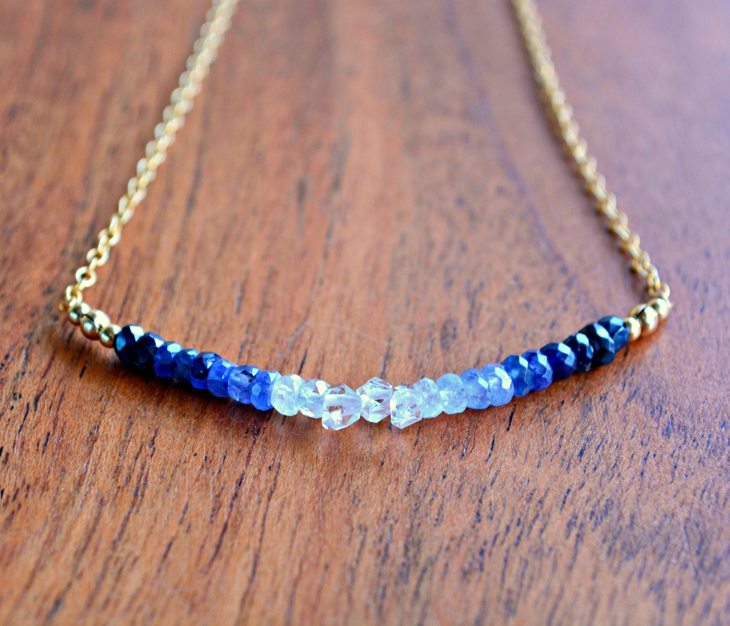 Sparkle with this fabulous Sapphire and Herkimer Diamond bar necklace