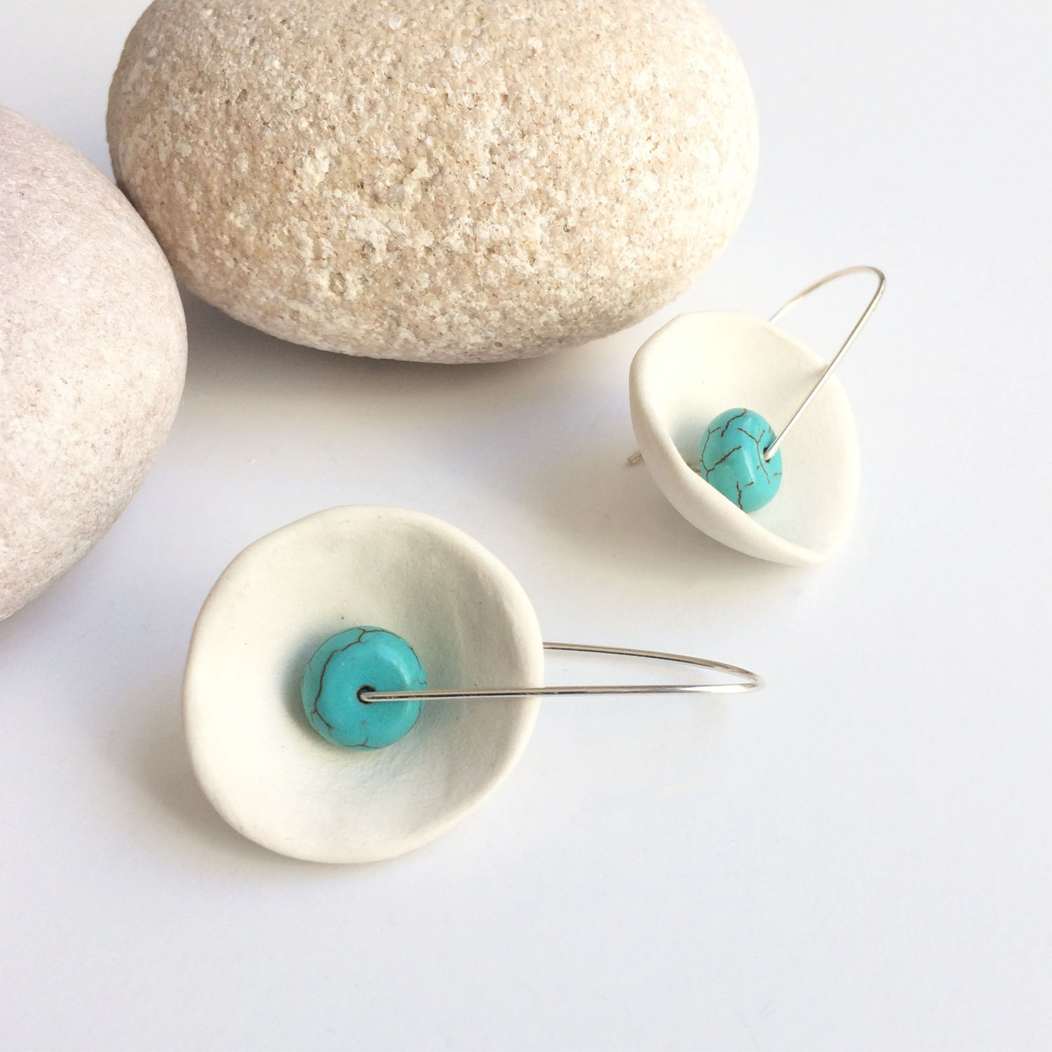 Porcelain and turquoise earrings