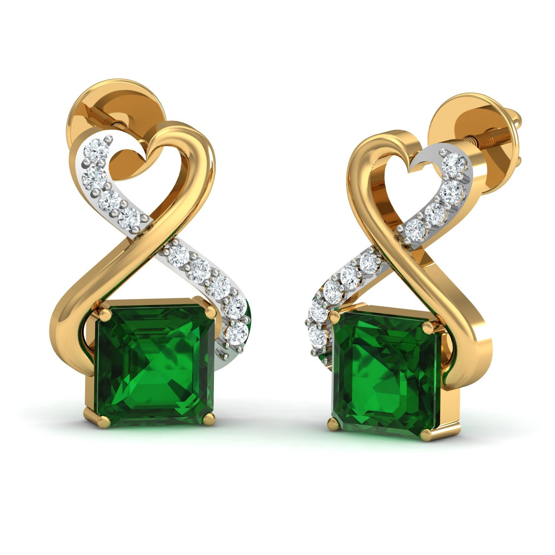 Gem Select Crafts diamond emerald earrings