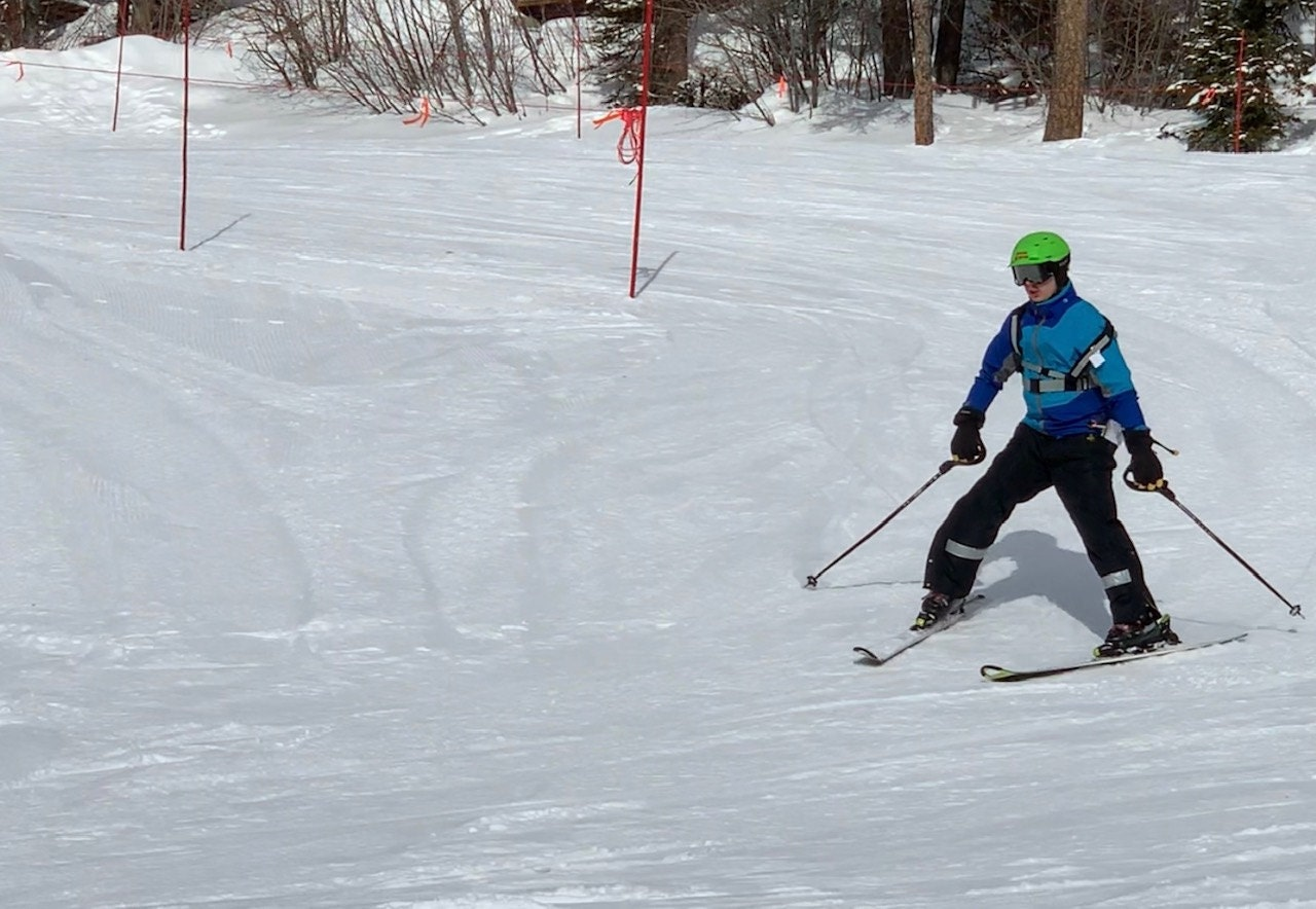 Curt practicing on the Special Olympic slalom course