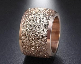 Reg. 159.95 16mm Womens Sand Blasted Rose Gold Finish Wedding Band Engagement Domed Ring (anniversary, promise ring, rose gold wedding ring