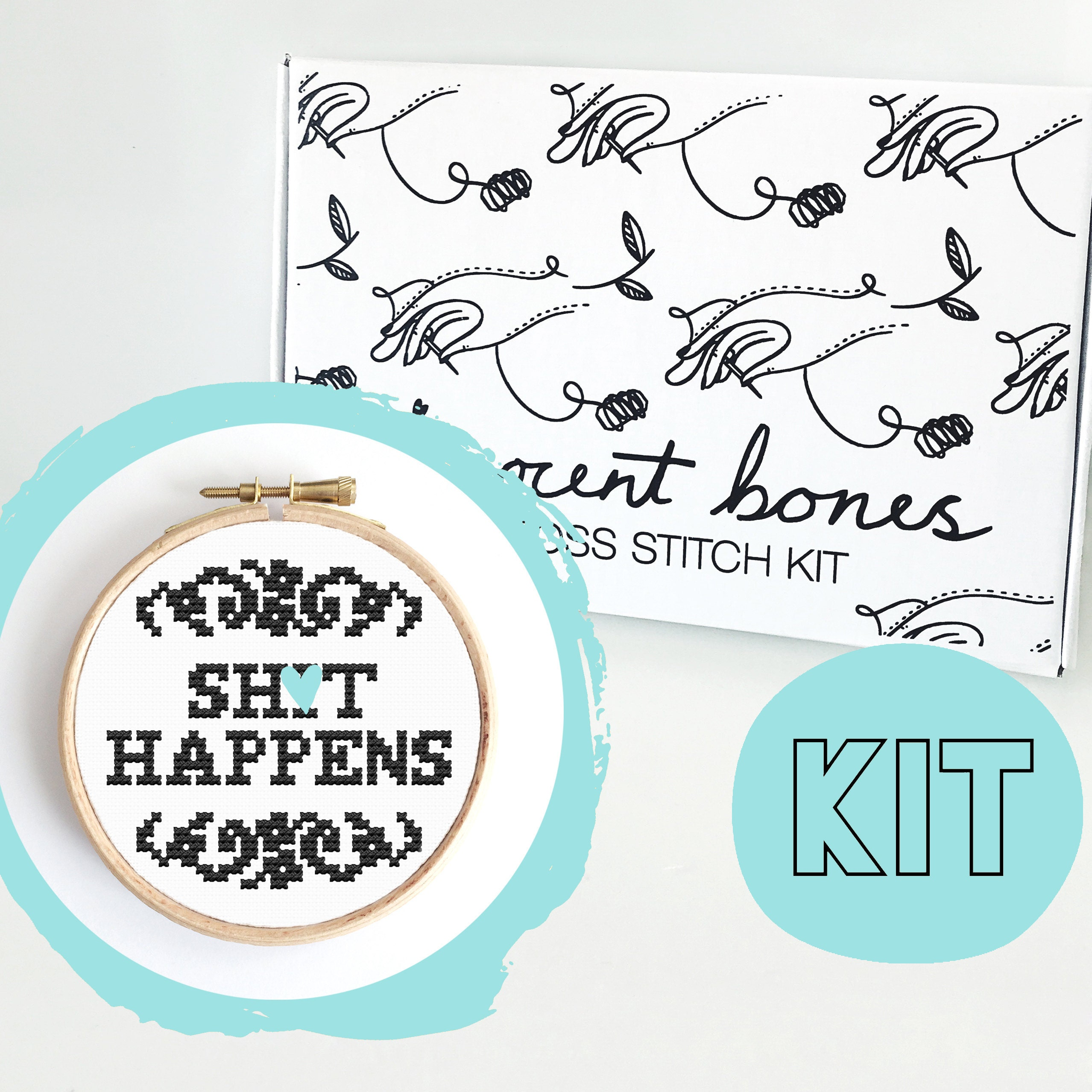 Modern Cross Stitch Kit - Sh*t Happens Cross Stitch Pattern - Learn To Cross Stitch - Cross Stitch For Beginners -Alternative Gift Mature